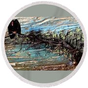 Vulture With Impasto Sky Round Beach Towel