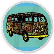 V W Bus - Hippie Volkswagen Camper Round Beach Towel