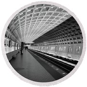 Waiting At Pentagon City Station Round Beach Towel