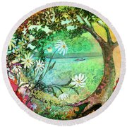 Waiting For Alice Round Beach Towel