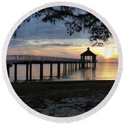 Walking Bridge To The Gazebo Round Beach Towel