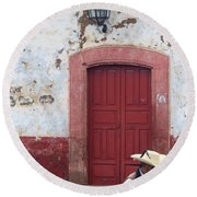 Round Beach Towel featuring the photograph Walking By In Patzcuaro by Rosanne Licciardi