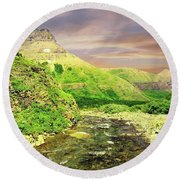 Walking The Swift Current River Round Beach Towel