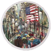 wall street NY Round Beach Towel
