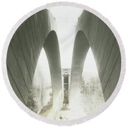 Walnut Lane Bridge Under Construction Round Beach Towel