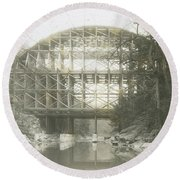 Walnut Lane Bridge Round Beach Towel