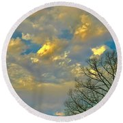 Warm And Cool Sky Round Beach Towel