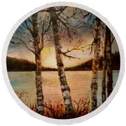 Round Beach Towel featuring the painting Warm Fall Day by Sher Nasser