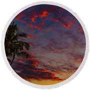Warm Sky Round Beach Towel