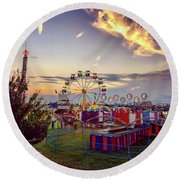 Round Beach Towel featuring the photograph Warren County Fair by Candice Trimble