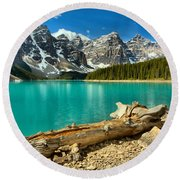 Washed Up At Moraine Lake Round Beach Towel