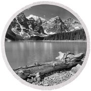 Washed Up At Moraine Lake Black And White Round Beach Towel