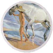 Washing The Horse, 1909 Round Beach Towel