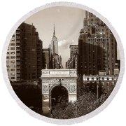 Washington Arch And New York University - Vintage Photo Art Round Beach Towel