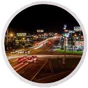 Washington Road At Night - Augusta Ga Round Beach Towel