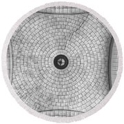 Round Beach Towel featuring the photograph Washington Union Station Ceiling 2 Washington D.c. - Black And White  by Marianna Mills