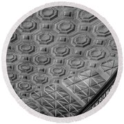 Round Beach Towel featuring the photograph Washington Union Station Ceiling Washington D.c. - Black And White by Marianna Mills