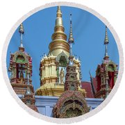 Wat Ban Kong Phra That Chedi Brahma And Buddha Images Dthlu0501 Round Beach Towel