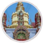 Round Beach Towel featuring the photograph Wat Ban Kong Phra That Chedi Window Dthlu0504 by Gerry Gantt
