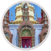 Round Beach Towel featuring the photograph Wat Ban Kong Phra That Chedi Windows Dthlu0503 by Gerry Gantt