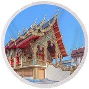 Round Beach Towel featuring the photograph Wat Chai Mongkon Phra Ubosot Dthlu0391 by Gerry Gantt