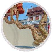 Round Beach Towel featuring the photograph Wat Chai Mongkon Phra Ubosot Makara And Naga Guardian Dthlu0396 by Gerry Gantt