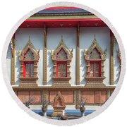 Round Beach Towel featuring the photograph Wat Chai Mongkon Phra Ubosot Windows Dthlu0398 by Gerry Gantt