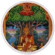 Round Beach Towel featuring the photograph Wat Kulek Phra Wihan Buddha Images Dthlu0448 by Gerry Gantt