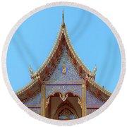 Round Beach Towel featuring the photograph Wat Kulek Phra Wihan Gable Dthlu0443 by Gerry Gantt