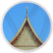 Wat Nong Khrop Phra Ubosot Gable Dthcm2663 Round Beach Towel