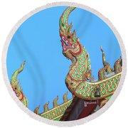 Round Beach Towel featuring the photograph Wat Nong Khrop Phra Ubosot Naga Roof Finials Dthcm2665 by Gerry Gantt