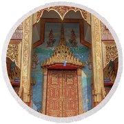 Round Beach Towel featuring the photograph Wat Nong Tong Phra Wihan Doors Dthcm2642 by Gerry Gantt