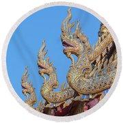 Round Beach Towel featuring the photograph Wat Nong Tong Phra Wihan Naga Roof Finials Dthcm2648 by Gerry Gantt