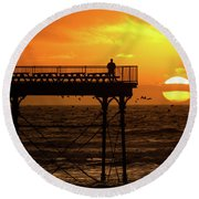 Watching The Sunset From Aberystwyth Pier Round Beach Towel