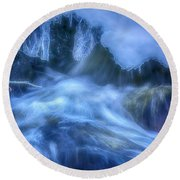 Water And Ice 7 Round Beach Towel