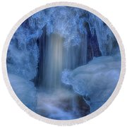 Water And Ice 8 Round Beach Towel