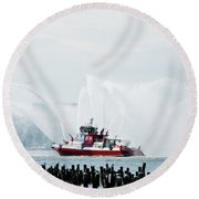 Water Boat Round Beach Towel