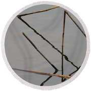 Round Beach Towel featuring the photograph Water Construction by Attila Meszlenyi