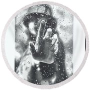 Water Droplets Round Beach Towel