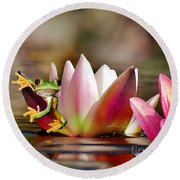 Water Lily And Frog Round Beach Towel