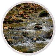 Round Beach Towel featuring the photograph Water Navigates The Rocks by Raymond Salani III
