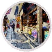 Water Village II Round Beach Towel