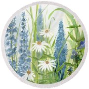 Watercolor Blue Flowers Round Beach Towel