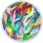 Watercolor Mosaic Round Beach Towel
