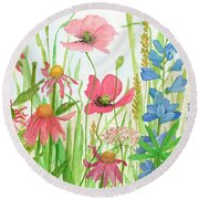 Watercolor Touch Of Blue Flowers Round Beach Towel