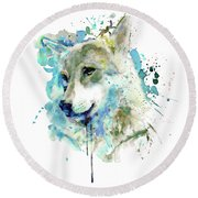 Watercolor Wolf Portrait Round Beach Towel