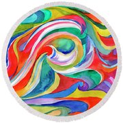 Watercolor's Swirl Round Beach Towel