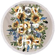 Round Beach Towel featuring the painting Watercolour Sunflowers Adventure Typography by Georgeta Blanaru