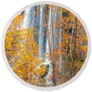 Round Beach Towel featuring the photograph Waterfall Backdrop by Russell Pugh