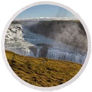 Waterfall Mist Of Iceland Round Beach Towel